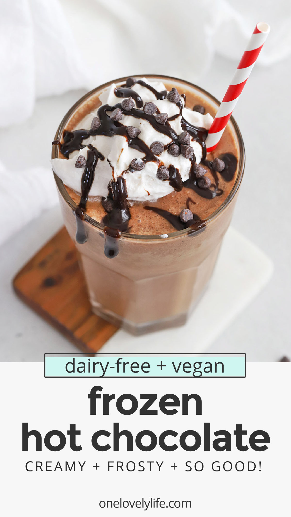 Vegan Frozen Hot Chocolate - This dairy-free frozen hot chocolate is frost, creamy, and so delicious with a swirl of whipped cream and some chocolate on top. You won't want to miss it! // Paleo Frozen Hot Chocolate // Healthy Frozen Hot Chocolate recipe #frozenhotchocolate #paleo #vegan #dairyfree #glutenfree