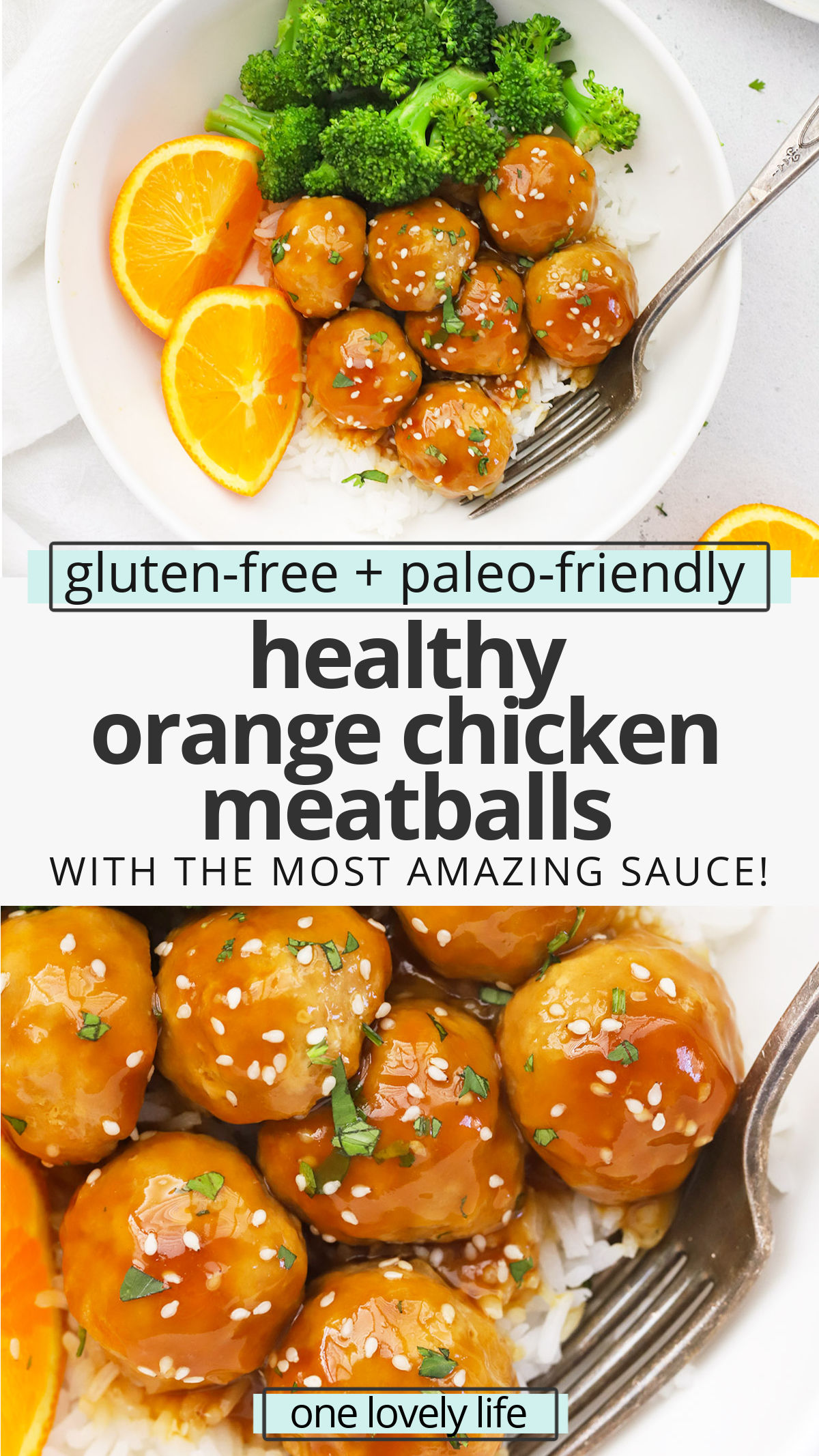Healthy Orange Chicken Meatballs - These yummy gluten-free chicken meatballs are smothered in our sweet and tangy orange stir-fry sauce to make a delicious dinner! (Paleo-Friendly) // Paleo Orange Chicken Meatballs Recipe // Sauce For Orange Chicken // Glazed Orange Chicken Meatballs #PaleoDinner #GlutenFree #OrangeChicken #TakeoutFakeOut #HealthyDinner #ChickenMeatballs