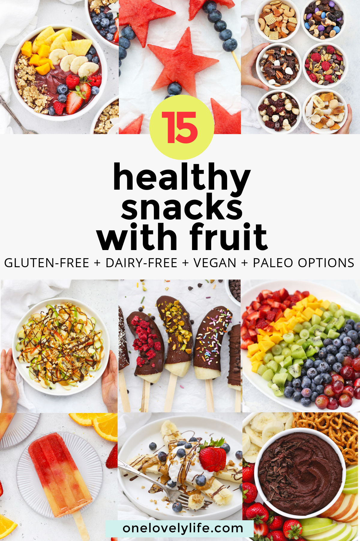 15+ Healthy Snacks with Fruit - These Healthy Snack Ideas are totally kid approved! (Gluten free, vegan, and paleo options!) // Healthy kids Snacks // Healthy Snacks for Kids #healthysnack #kidssnacks #funsnack #fruit