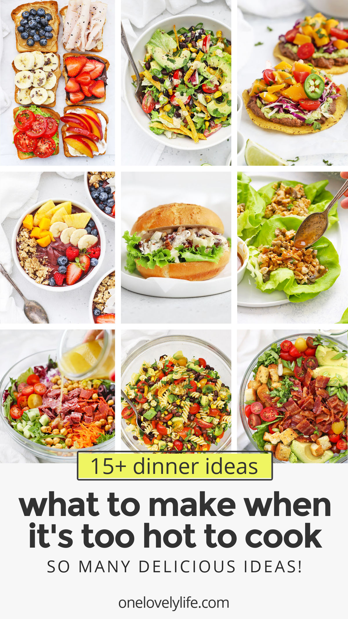 15+ Recipes to Make When It's Too Hot to Cook. These Low-Cook and No-Cook Dinners are Perfect for a Hot Day! Gluten-Free, Dairy-Free, Vegan, and Paleo Options Included!