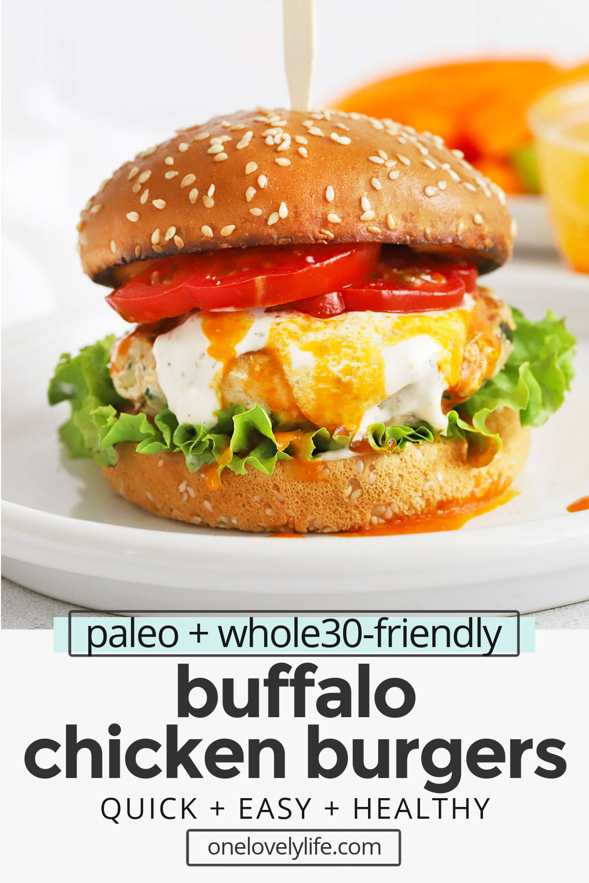 Healthy Buffalo Chicken Burgers - Lean chicken burgers with grated zucchini and a buffalo kick make a fresh, easy dinner any time! (Paleo & Whole30-Friendly) // paleo buffalo chicken burgers // whole30 buffalo chicken burgers // chicken burger recipe // healthy grilling recipe #glutenfree #burger #chicken #whole30 #paleo