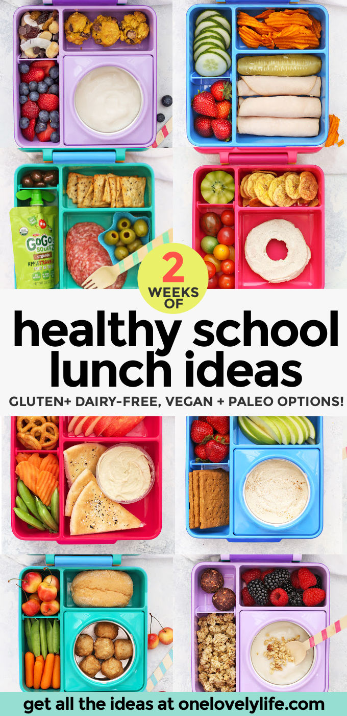 Get 2 Weeks of Healthy School Lunch Ideas in this post, plus a free printable packed lunch cheat sheet for creating your own combinations! // Gluten free school lunch ideas // paleo school lunch // paleo lunch for kids // vegan school lunch ideas // healthy school lunches // dairy free school lunch ideas // school lunch inspiration // kids bento box // kids bento lunch // toddler lunch // omie box #schoollunch #packedlunch #healthylunch