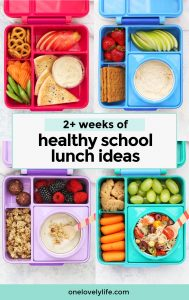 """Gluten-Free School Lunches in colorful lunch boxes with text overlay that reads """"2+ weeks of healthy school lunch ideas"""""""