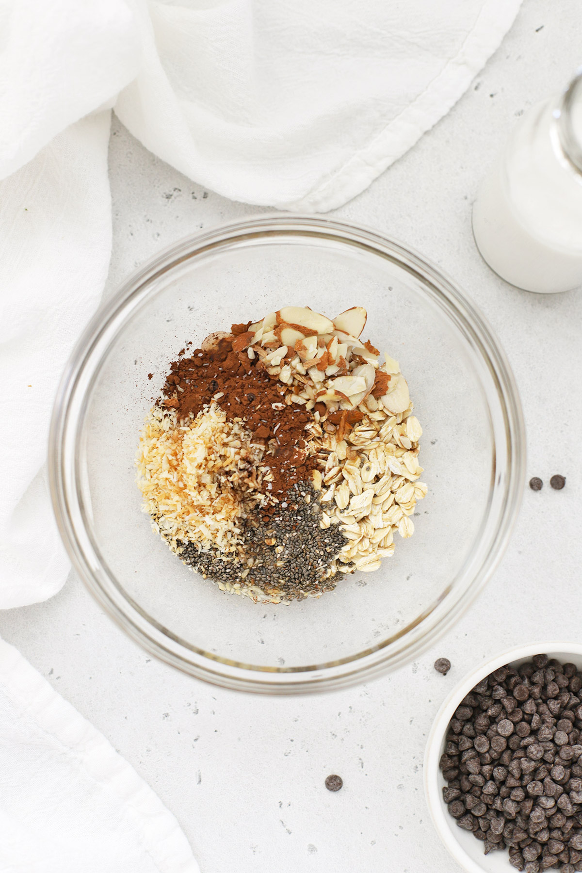 Overhead view of ingredients for making Almond Joy Overnight Oats