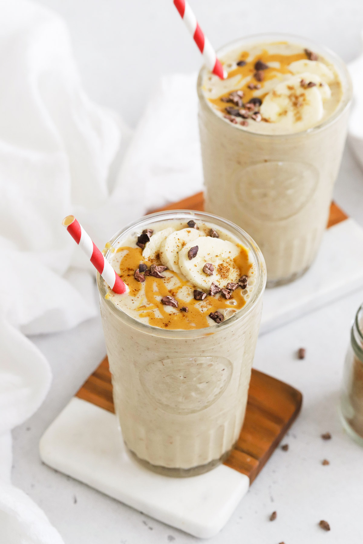 Front view of a chai banana smoothie