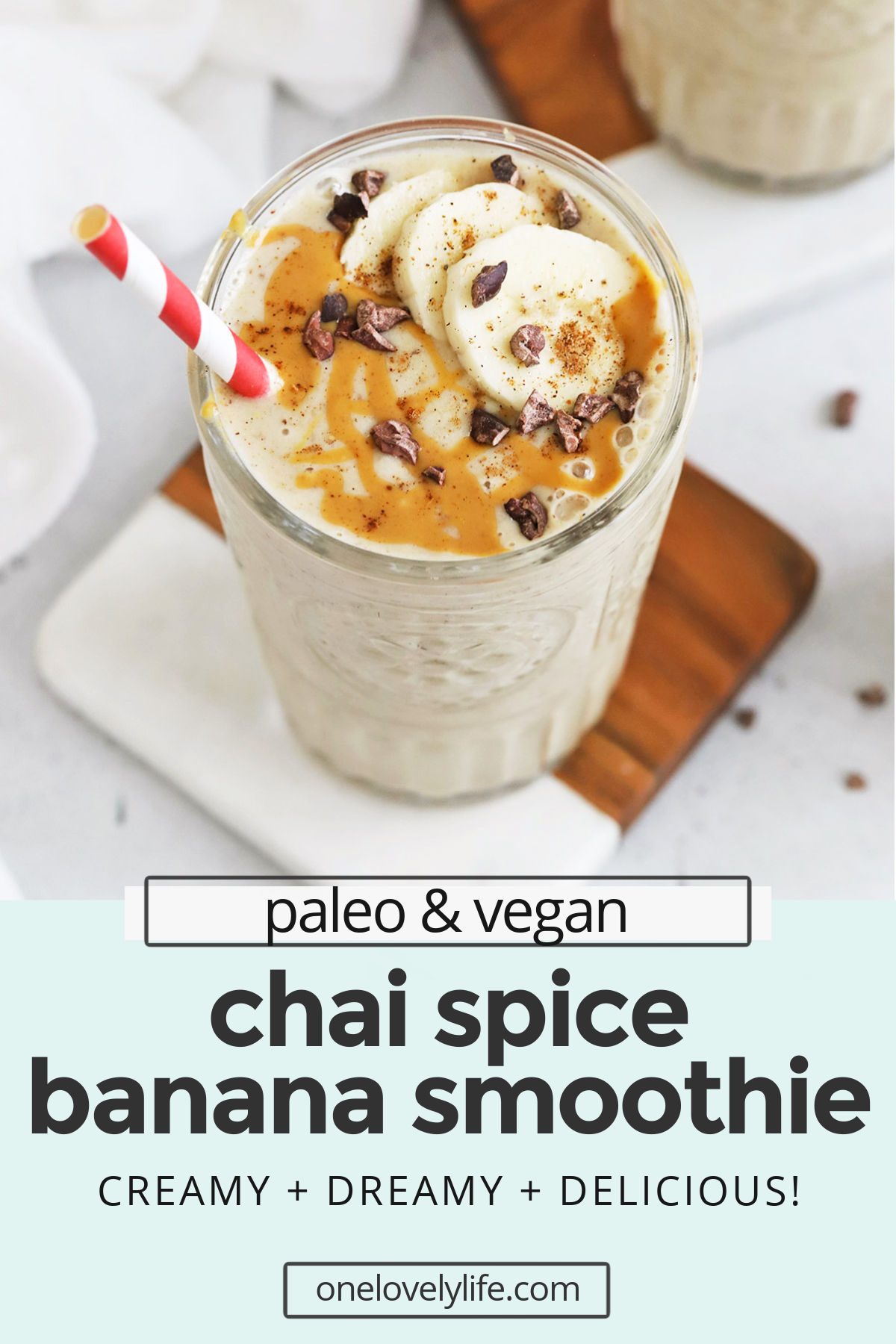 Chai Spiced Banana Smoothies - This chai banana smoothie is such a yummy change of pace! It's perfect all year long. (Paleo, Vegan) // Chai Spice Banana Smoothie // Banana Smoothie Recipe // Banana Chai Smoothie // Fall Smoothie // Winter Smoothie // Paleo Smoothie // Vegan Smoothie #smoothie #chai #banana #chaispice