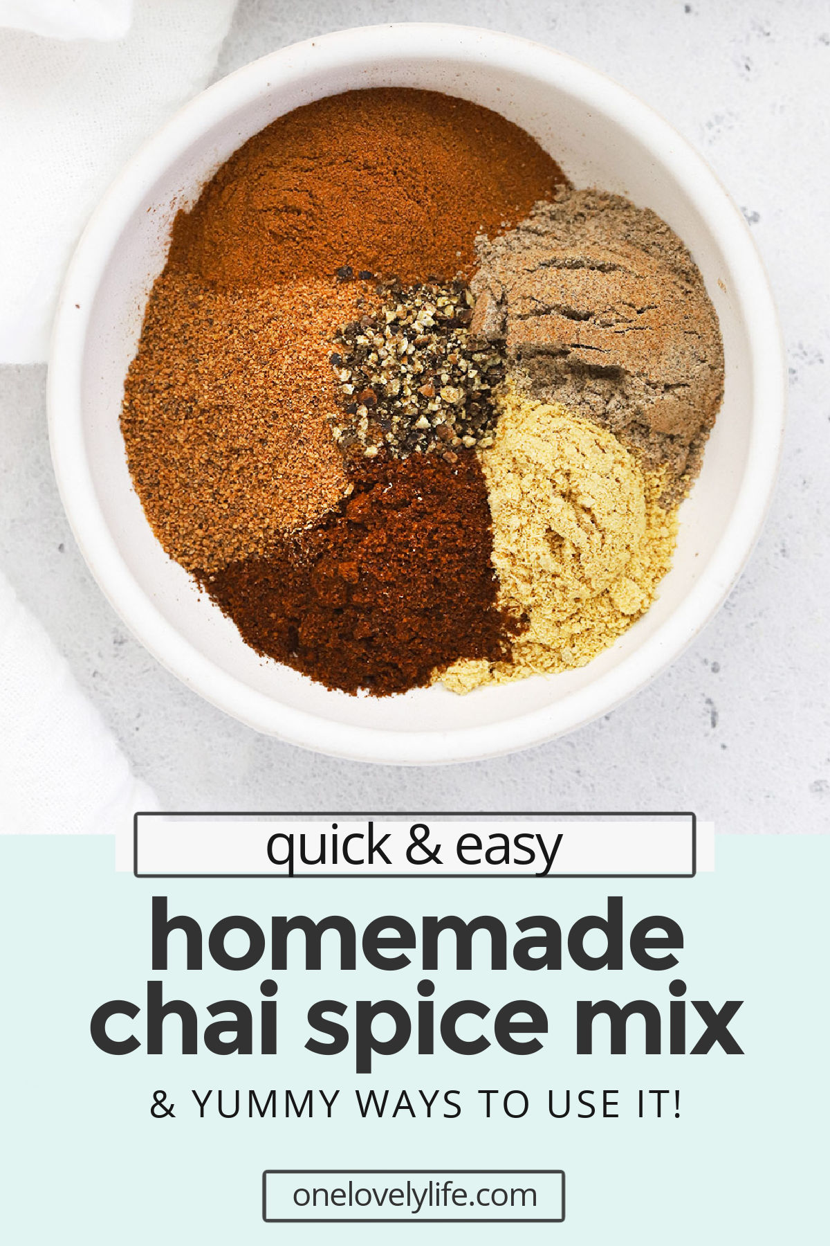 Chai Spice Mix - Learn how to make chai spice mix with our easy recipe! Add it to drinks, baked goods, and so much more. Don't miss all our favorite ways to use it in the post! (Naturally vegan, paleo, Whole30) // DIY Chai Spice // Homemade Chai Mix // Homemade Spice Blend // Chai Spice From Scratch// #chaispice #chai #fromscratch