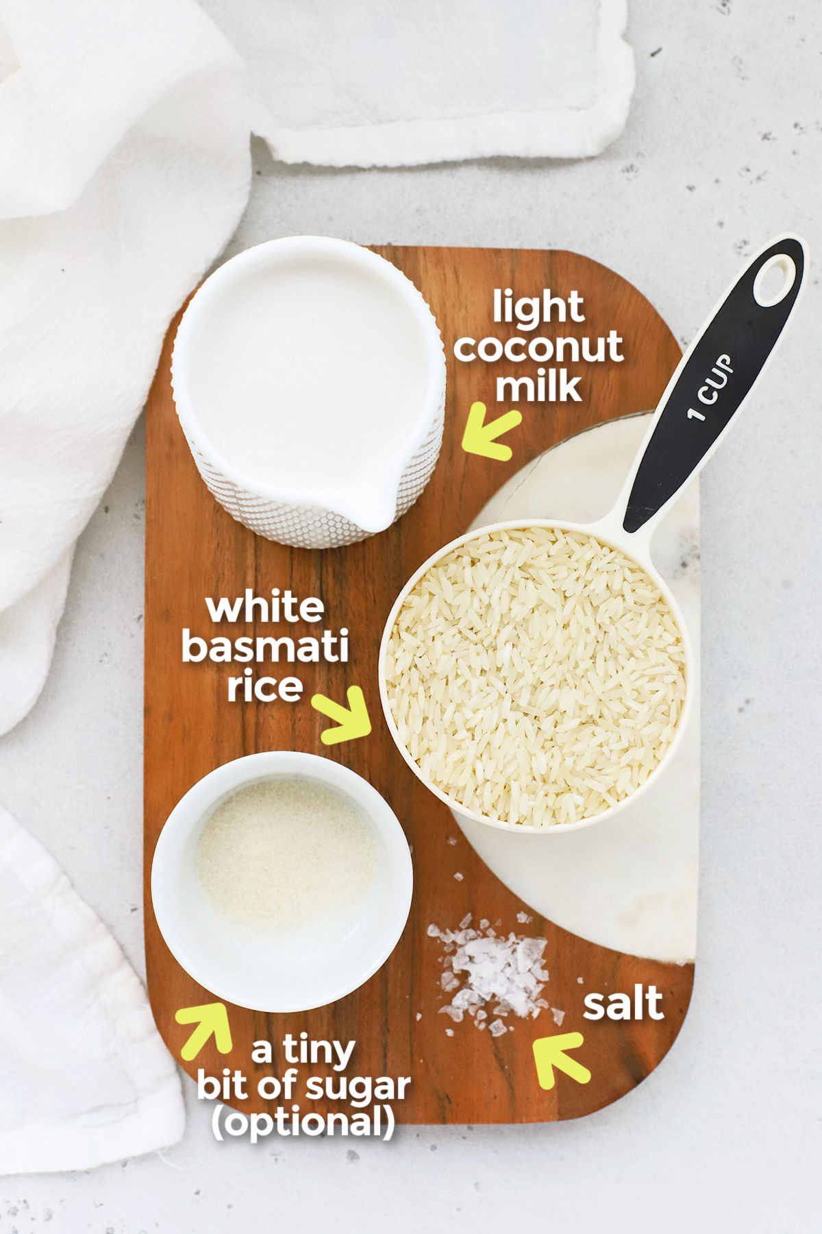 Overhead view of ingredients for Instant Pot coconut rice on a cutting board