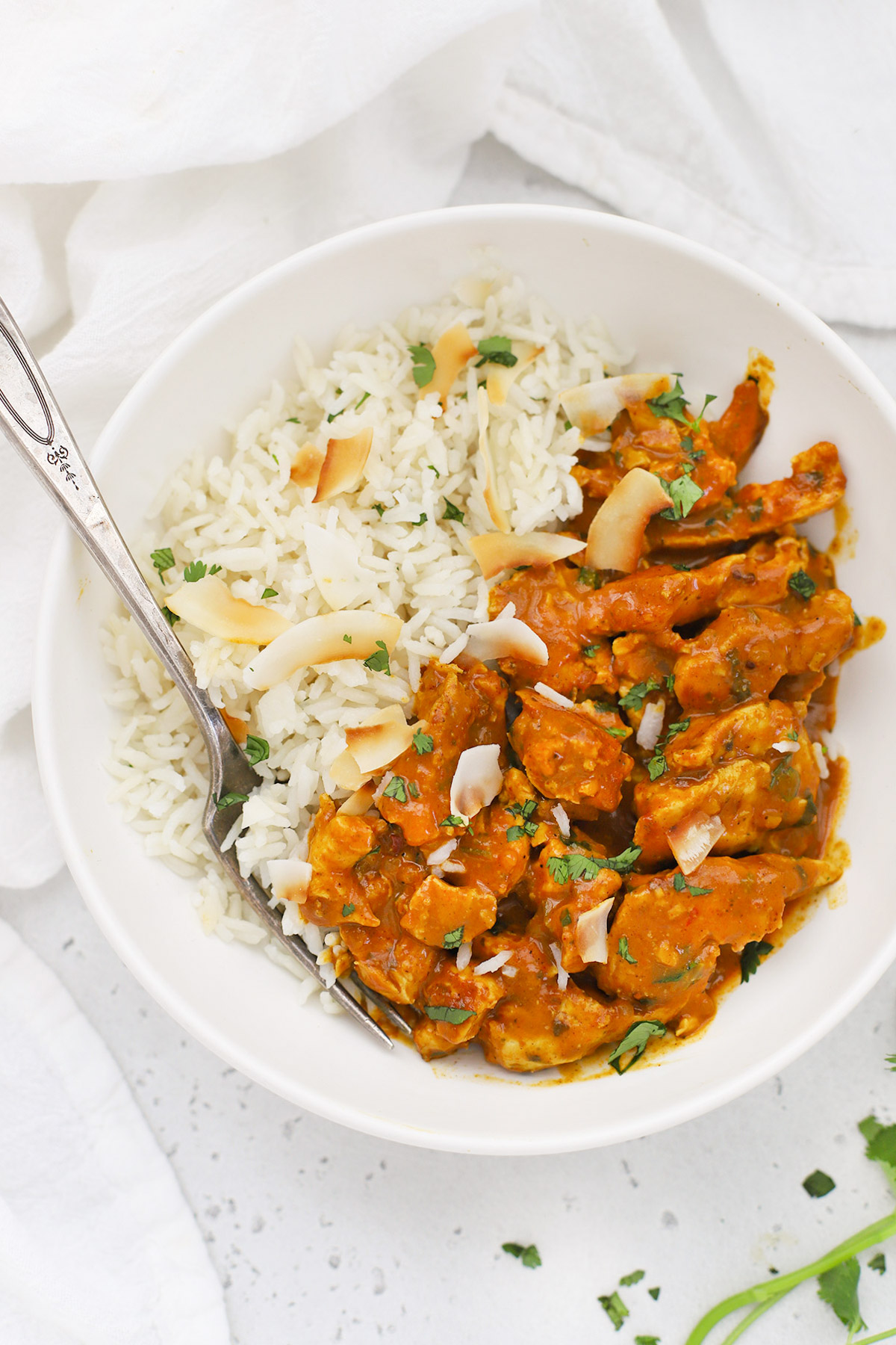 Overhead view of Instant Pot Coconut Rice with Butter Chicken