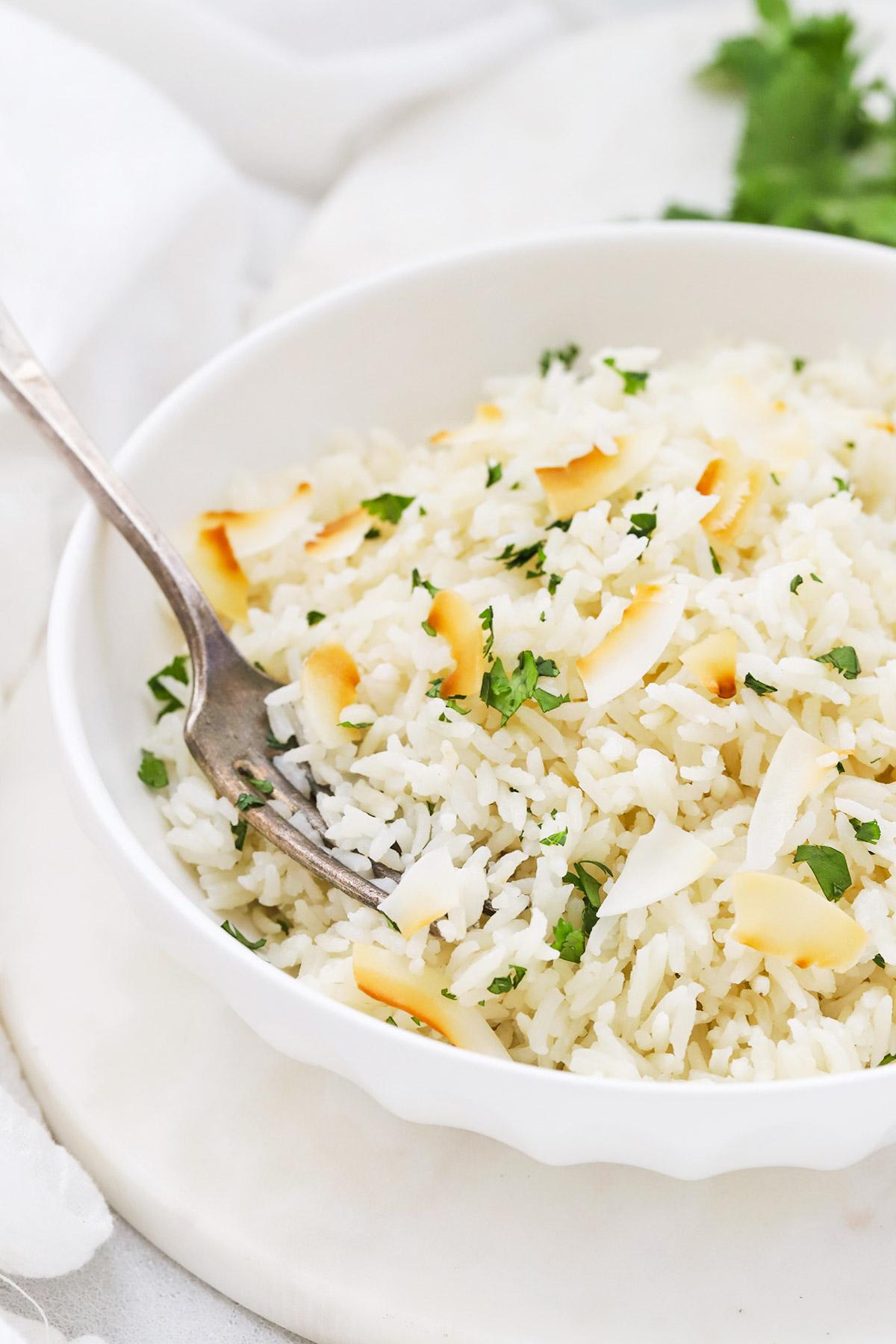 Front view of fluffy Instant Pot Coconut Rice garnished with toasted coconut and cilantro