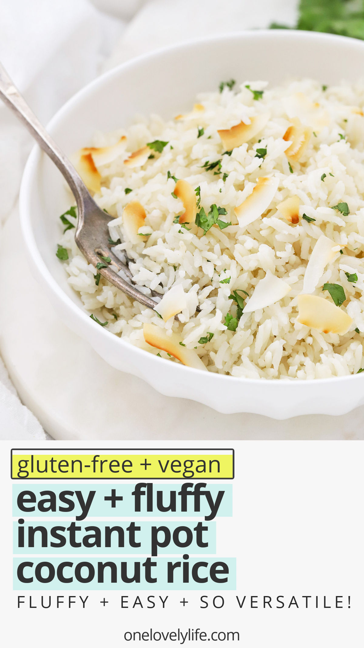 Instant Pot Coconut Rice - This pressure cooker Coconut Rice is SO easy to make and makes a delicious side dish to curries, stir-fries, and all your favorite main dishes. (Vegan, Gluten-Free) // Seasoned Rice // Thai Coconut Rice // Side Dish Recipe // Easy Coconut Rice Recipe #rice #glutenfree #instantpot #pressurecooker #curry