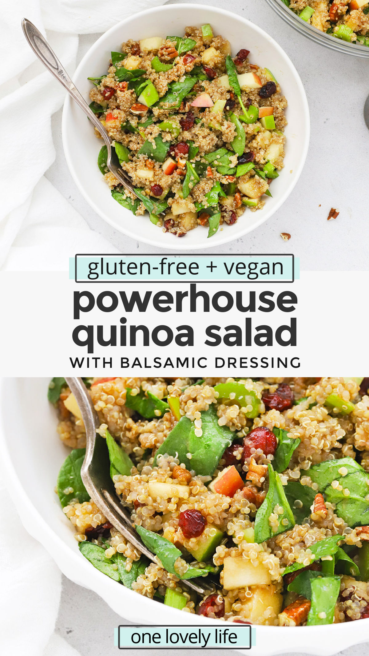 Powerhouse Quinoa Salad - This healthy quinoa salad is PACKED with superfood nutrients and flavor. It's the perfect healthy meal prep lunch! (Gluten-free + vegan) // Vegan Lunch // Healthy Lunch Ideas // Quinoa Salad Recipe // Fall Quinoa Salad #vegan #mealprep #healthylunch #glutenfree #quinoasalad