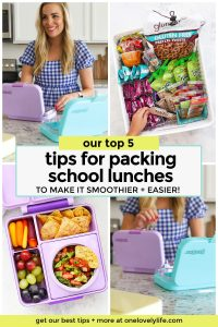 Collage of images with tips and tricks for packing school lunches