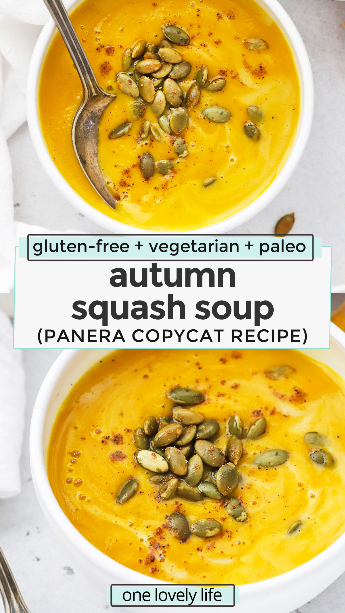 Autumn Squash Soup - We recreated the Panera squash soup recipe so you can make it at home! This creamy squash soup has the perfect blend of spices and is sure to warm you up on a chilly day. (Paleo, Vegan-Friendly) // Panera Autumn Squash Soup recipe // fall squash soup recipe // vegetarian squash soup // #squashsoup #squash #glutenfree #paleo #dairyfree #vegetarian