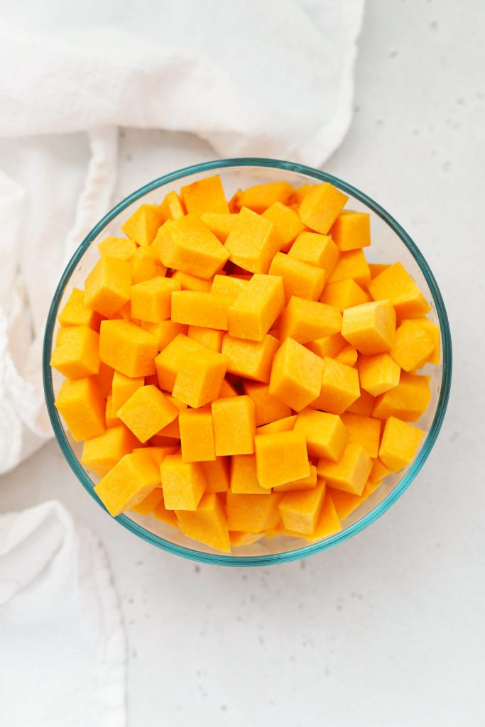 Overhead view of diced butternut squash for autumn squash soup