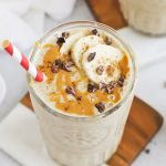 Overhead view of two chai banana smoothies