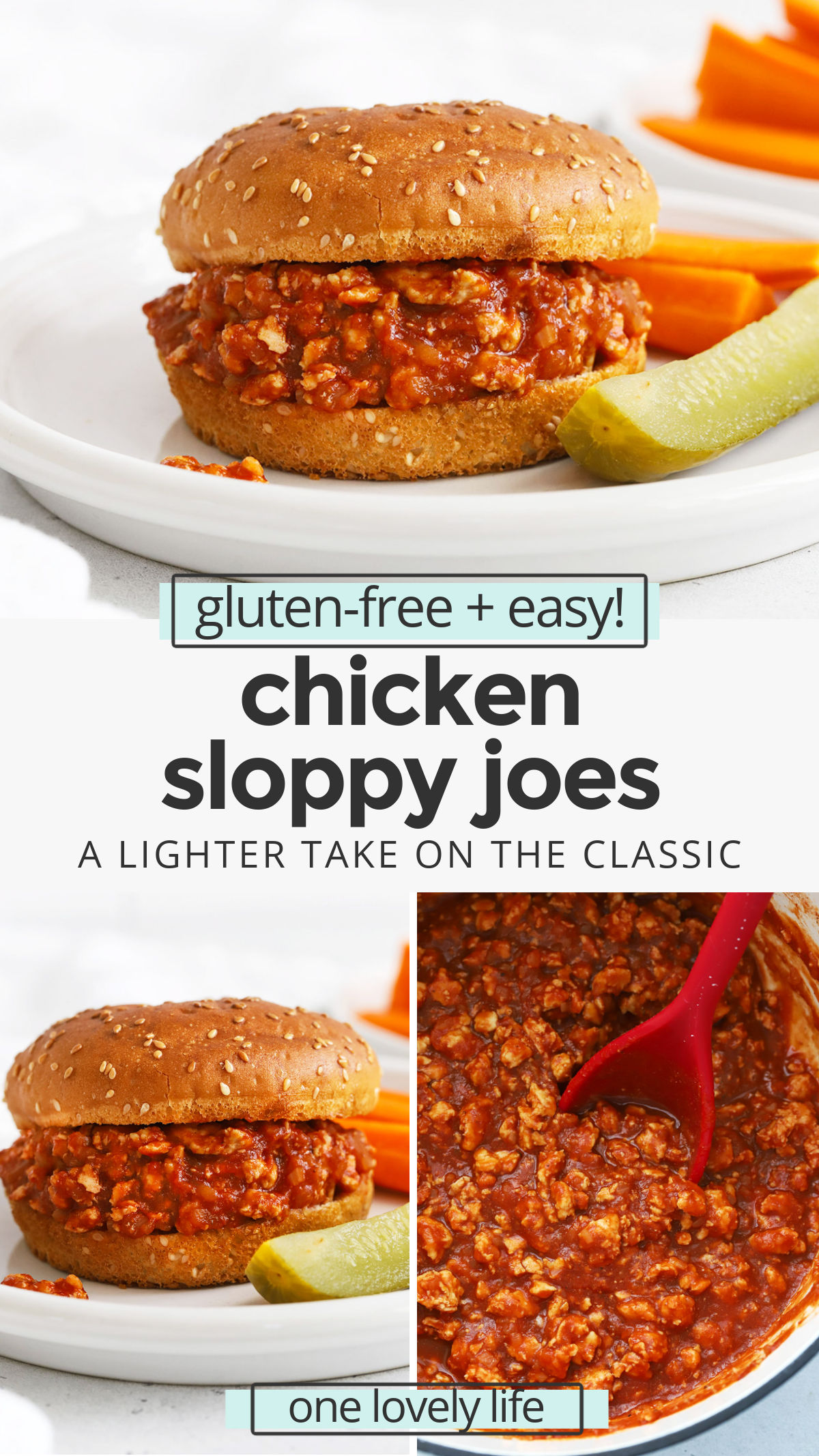 Healthy Chicken Sloppy Joes - These healthy sloppy joes are a lighter take on the classic! You'll love the savory sauce and all our favorite ways to serve them! // Healthy Sloppy Joes Recipe // Chicken Sloppy Joe Recipe // Healthy Dinner // Sloppy Joes Recipe // #sloppyjoes #chicken #healthydinner #sandwich #sloppyjoe