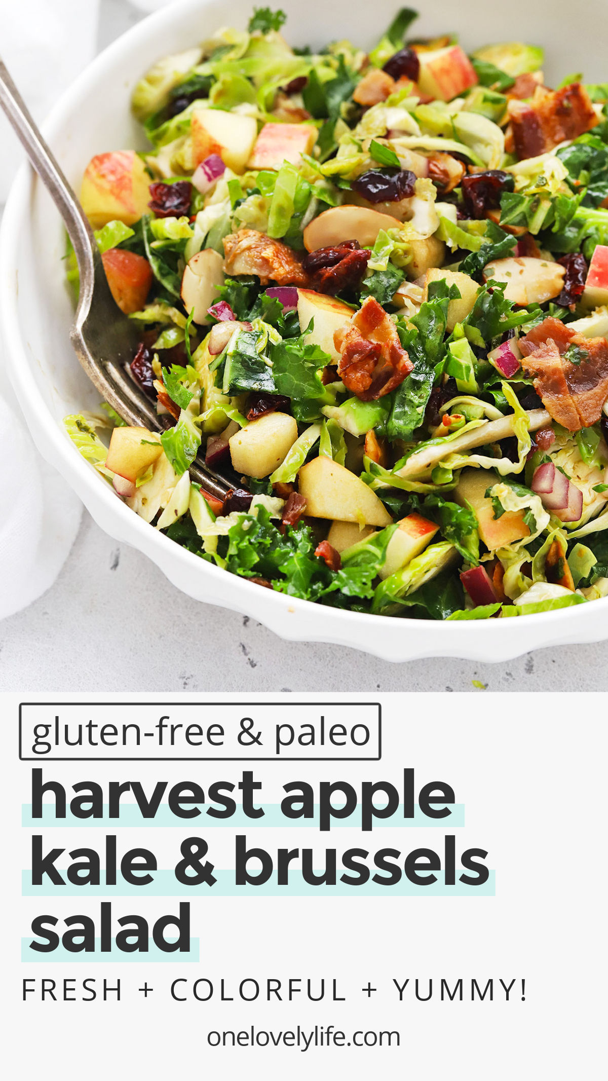 Harvest Apple Kale & Brussels Sprouts Salad - This colorful kale and Brussels sprouts salad is perfect when the weather turns cold. You'll love the mix-ins! // Apple Kale Brussels Sprouts Salad // Fall Salad // Winter Salad // Thanksgiving Side Dish // Holiday Side Dish // Brussels Sprouts Salad // #brusselssprouts #healthysalad #fallsalad #sidedish #thanksgiving #christmas