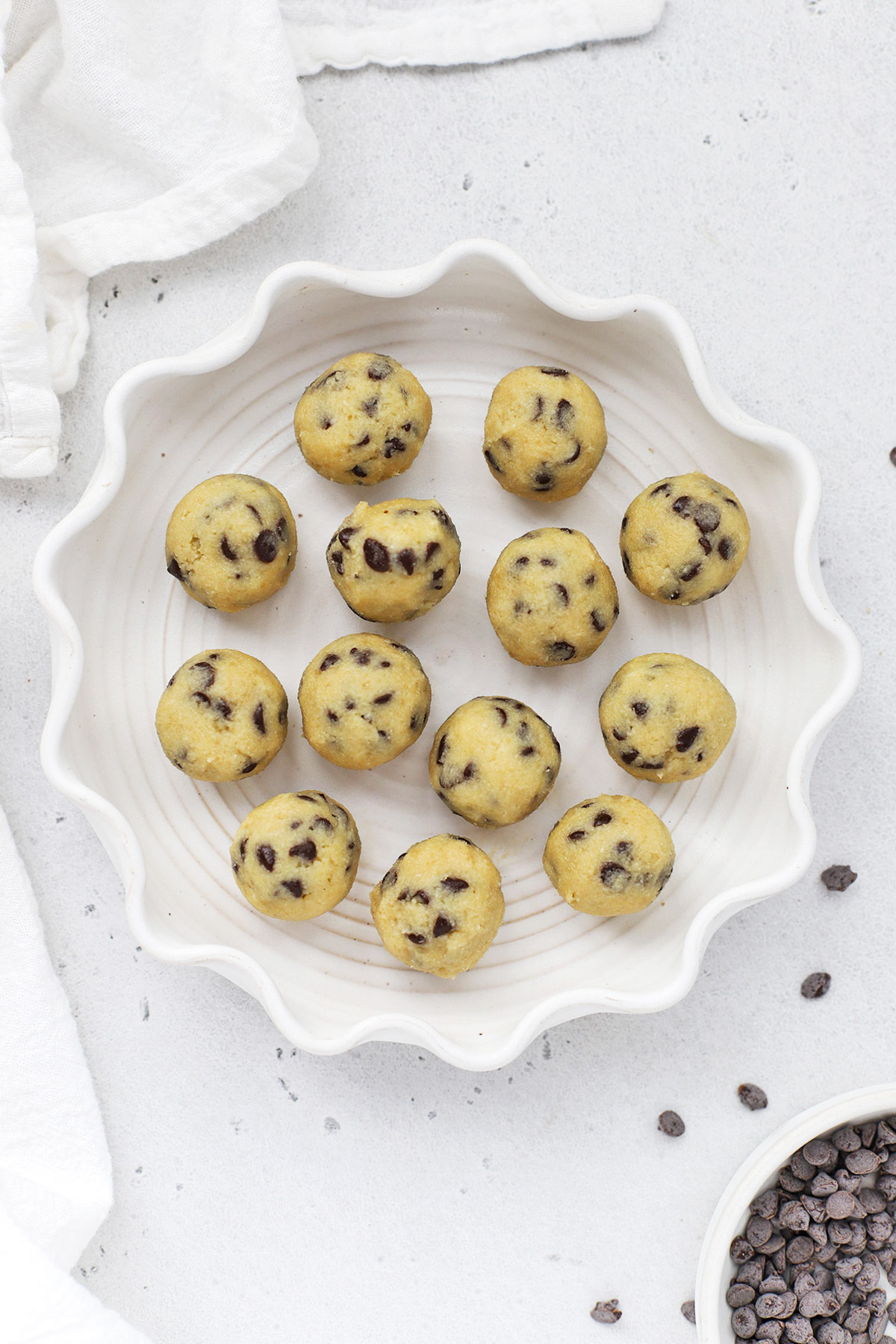Overhead view of a plate of healthy edible cookie dough bites