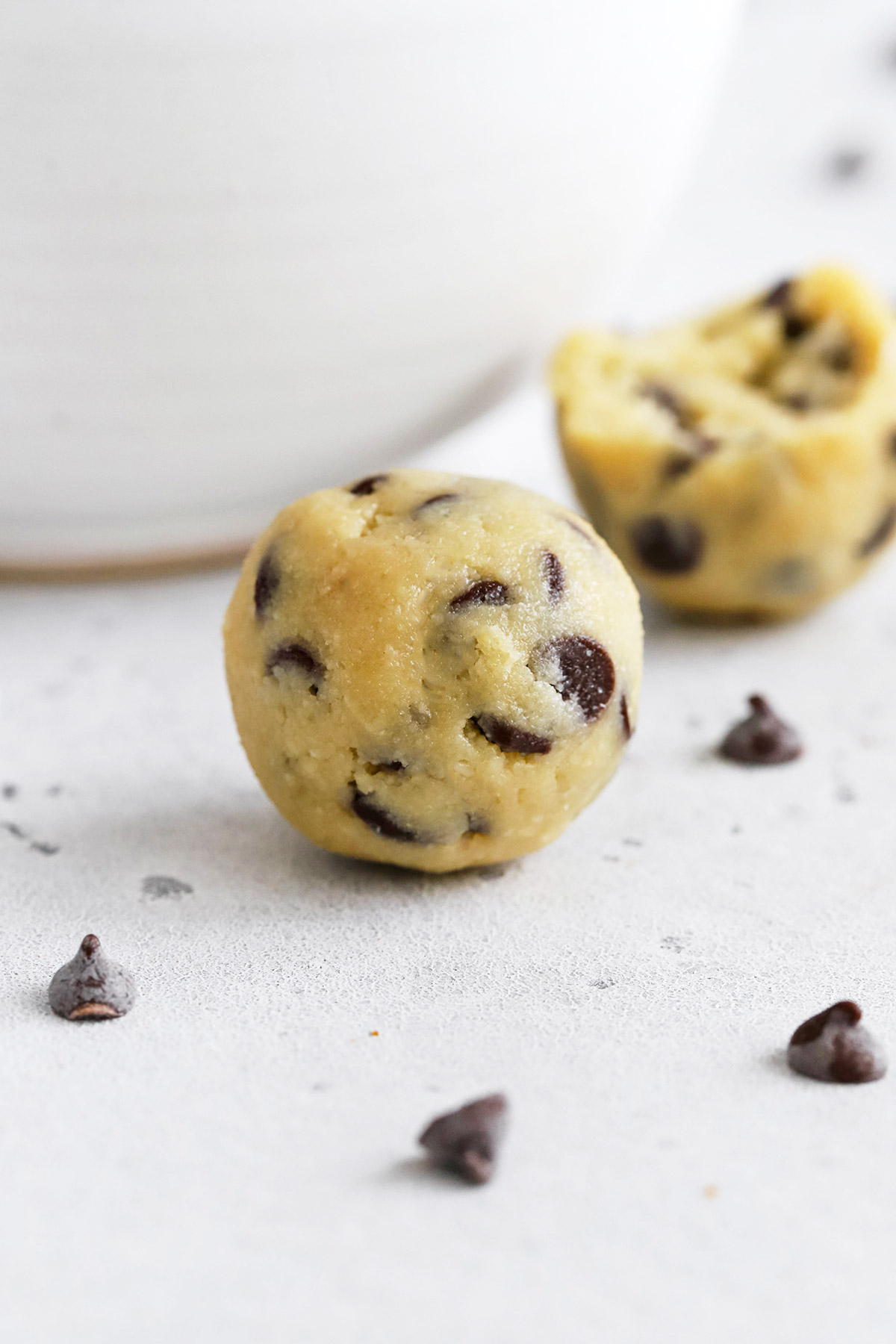Close up view of healthy edible cookie dough bites with chocolate chips