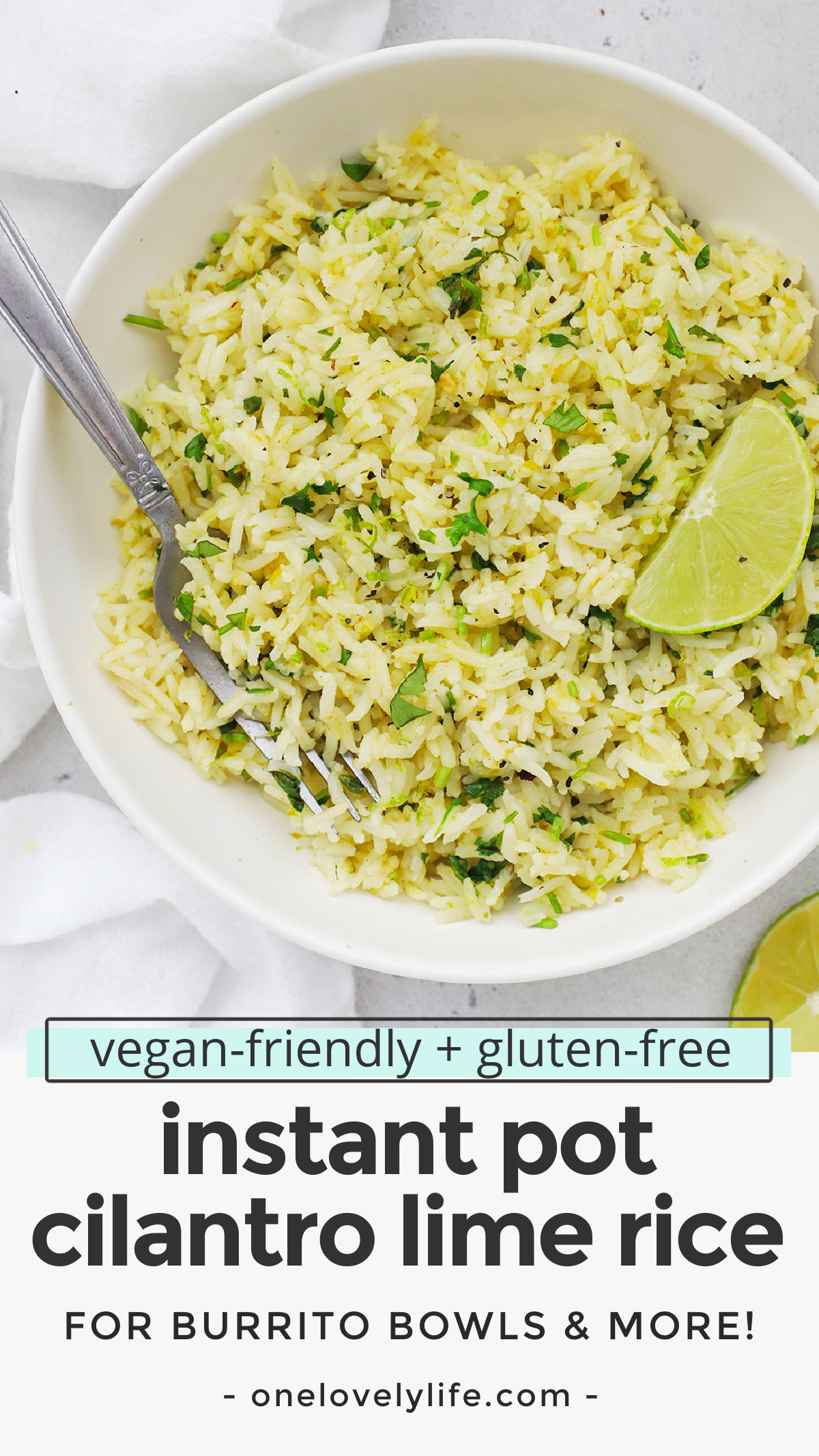 Instant Pot Cilantro Lime Rice - Restaurant style cilantro lime rice is easier than ever thanks to the pressure cooker! This method will give you fluffy, flavorful rice perfect as a side dish, tucked into burrito bowls, burritos & more! (Vegan-friendly, gluten-free) // Chipotle Cilantro Lime Rice // Cafe Rio Cilantro Lime Rice // Pressure Cooker Cilantro Lime Rice // #sidedish #cilantrolimerice #rice #burritobowls #tacos #burritos #texmex #taconight #glutenfree #vegetarian
