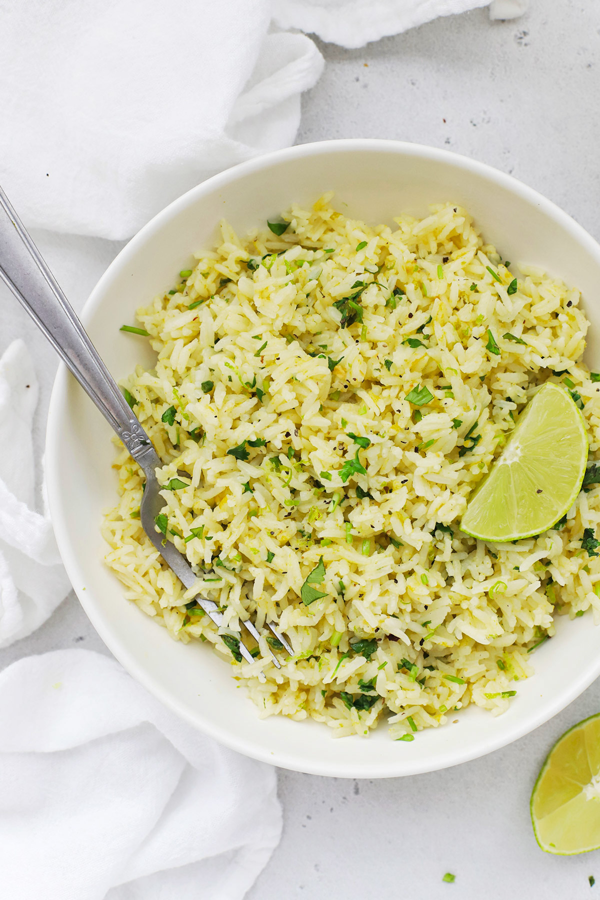 Overhead view of a bowl of Instant Pot Cilantro Lime Rice