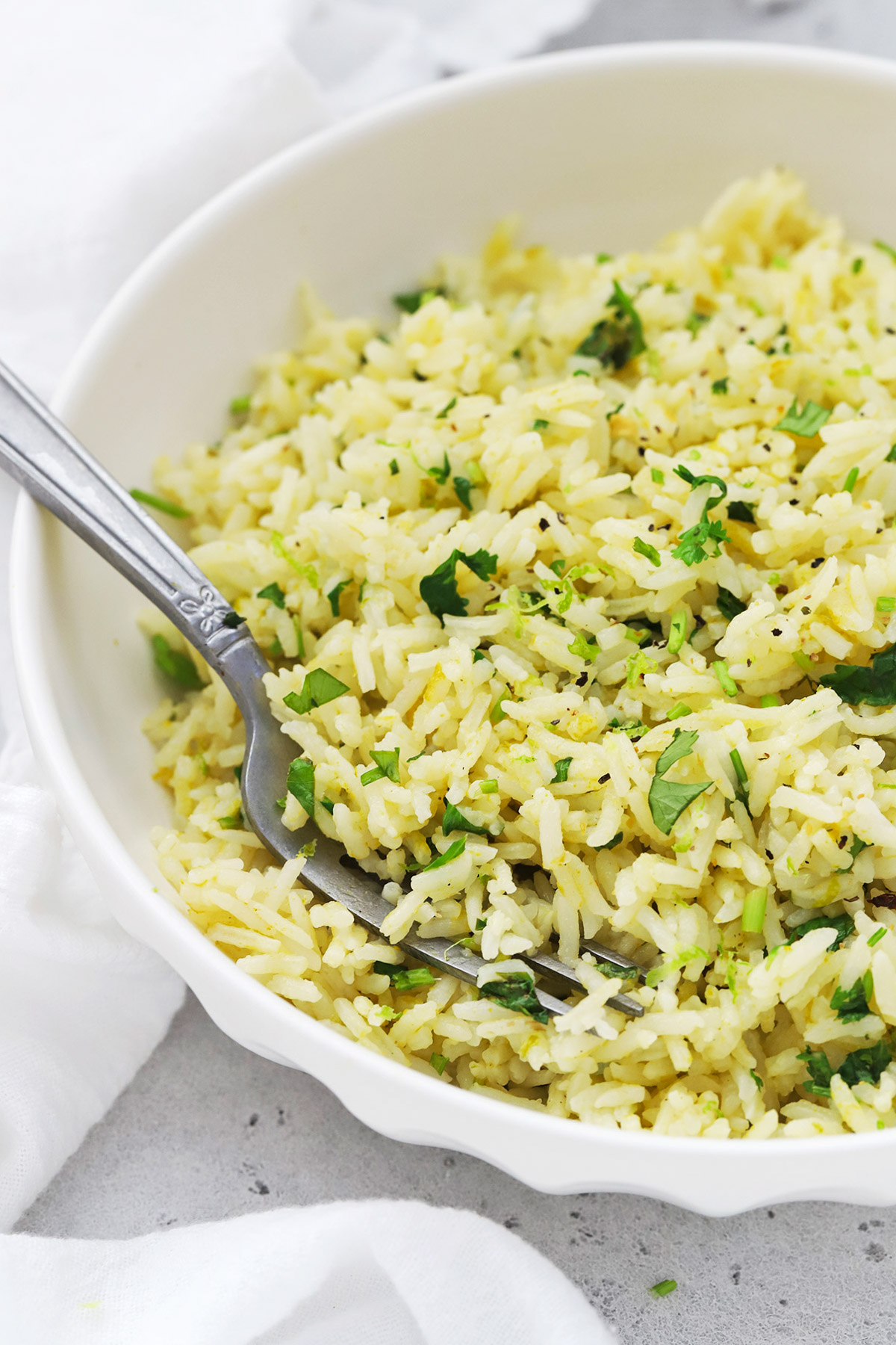 Front view of a bowl of Instant Pot Cilantro Lime Rice