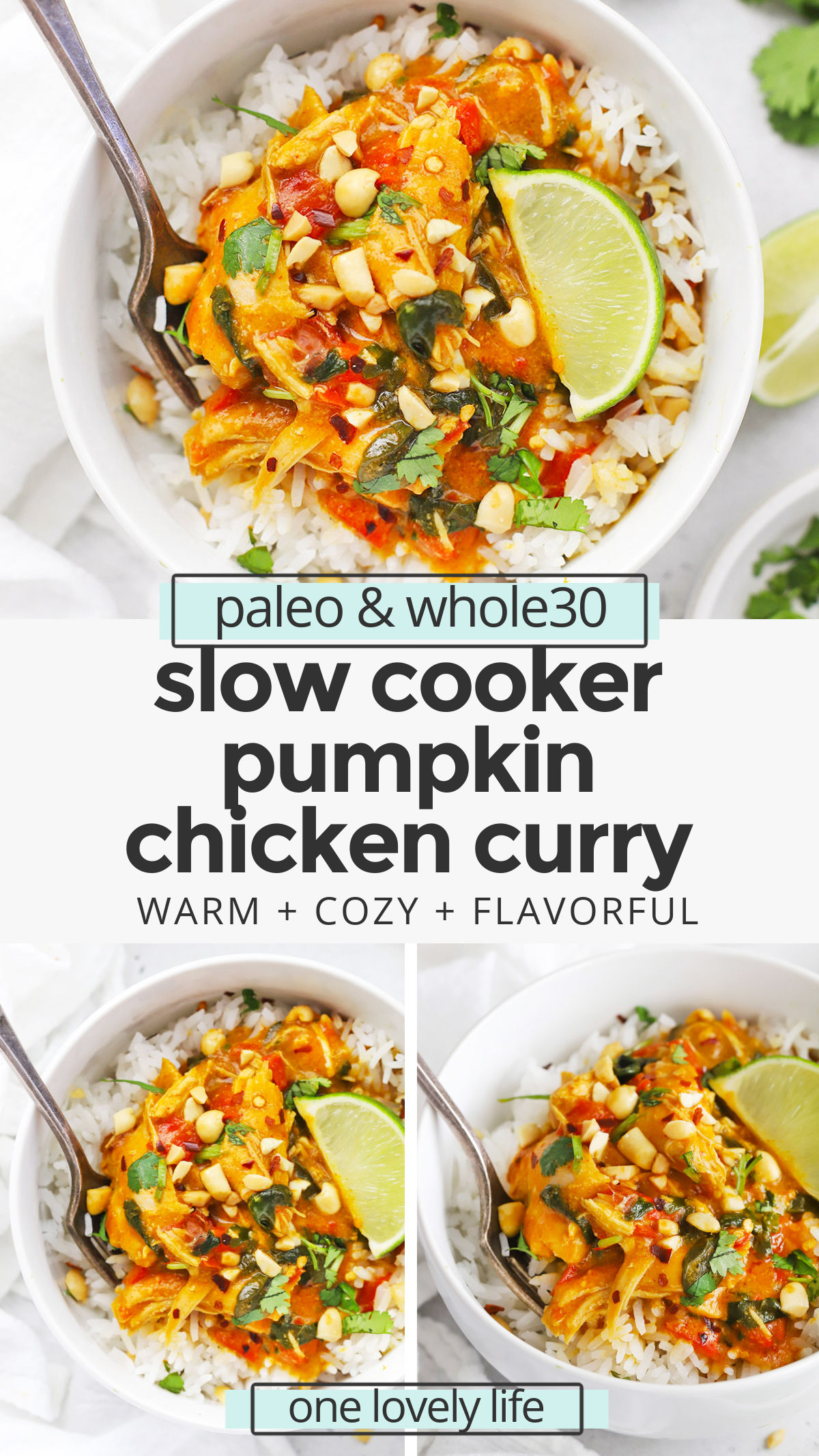 Slow Cooker Pumpkin Chicken Curry - This cozy pumpkin curry has tender chicken, colorful veggies & a mega-flavorful sauce to warm you up from the inside out. (Paleo, Whole30, Gluten-Free) // Pumpkin Curry Recipe // Slow cooker curry // savory pumpkin recipes // healthy dinner // paleo slow cooker recipe // whole30 slow cooker recipe // paleo chicken // healthy pumpkin recipe #glutenfree #pumpkin #slowcooker #crockpot #paleo #whole30