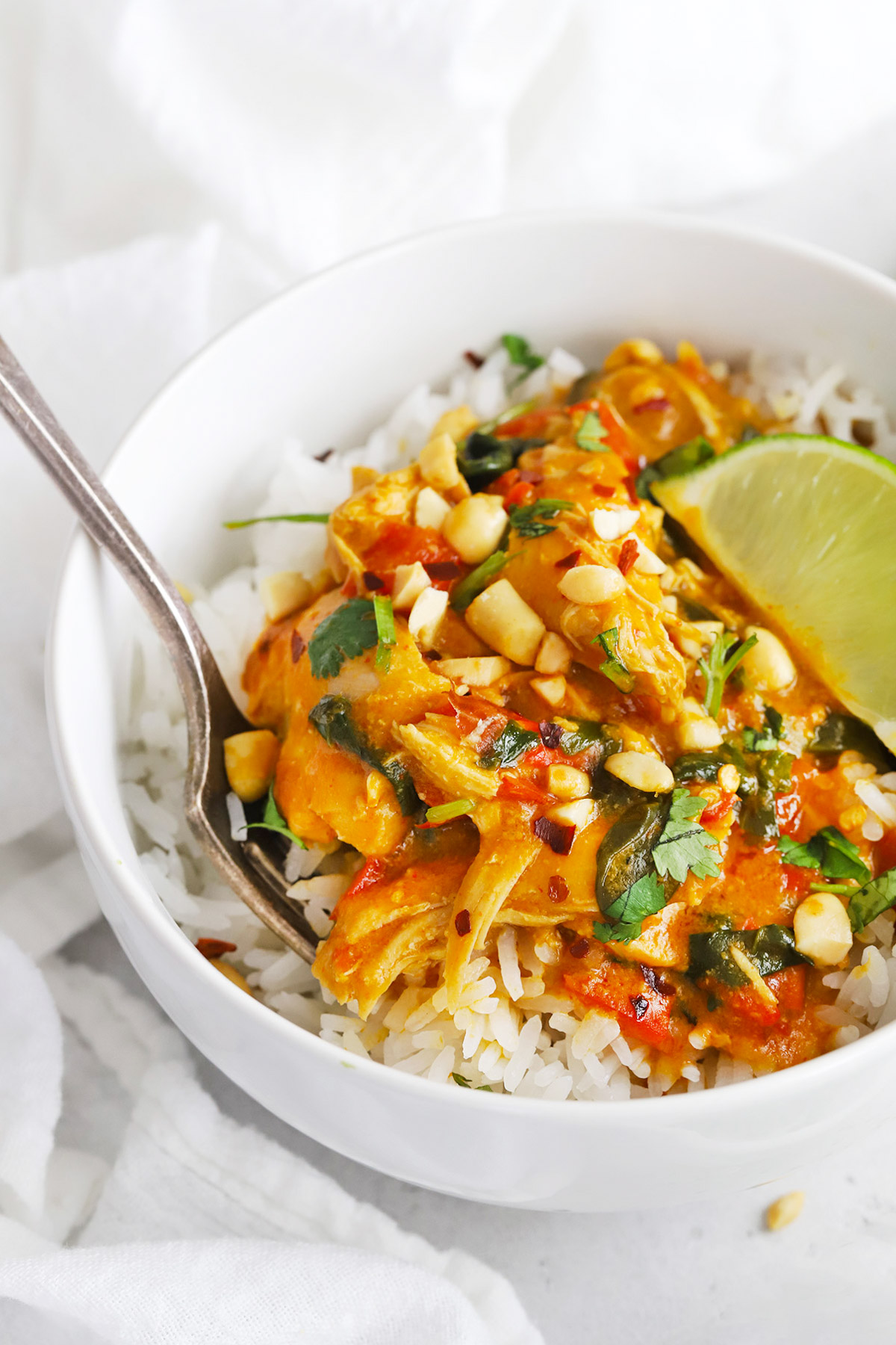 Front view of Healthy pumpkin chicken curry topped with crushed peanuts and fresh cilantro