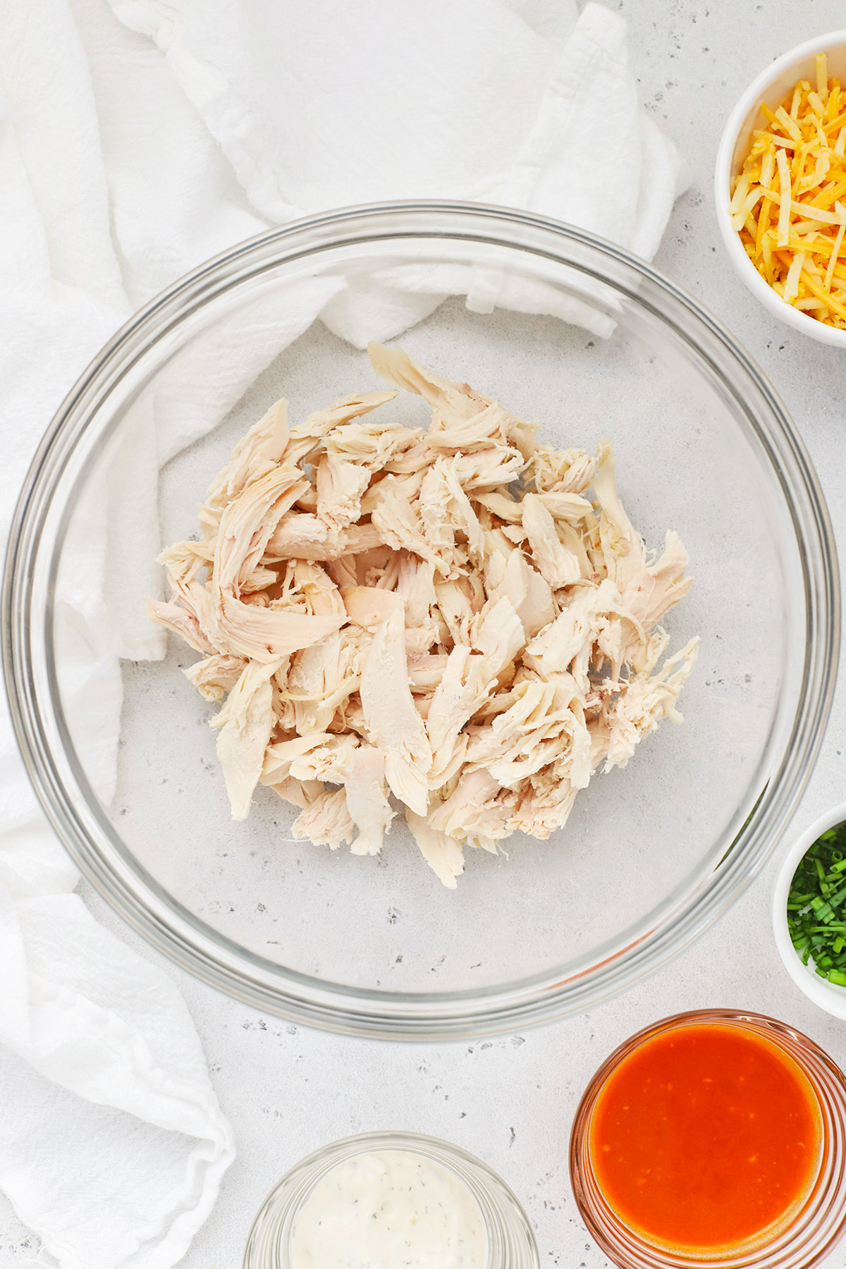 Overhead view of ingredients for Buffalo Chicken Quesadillas