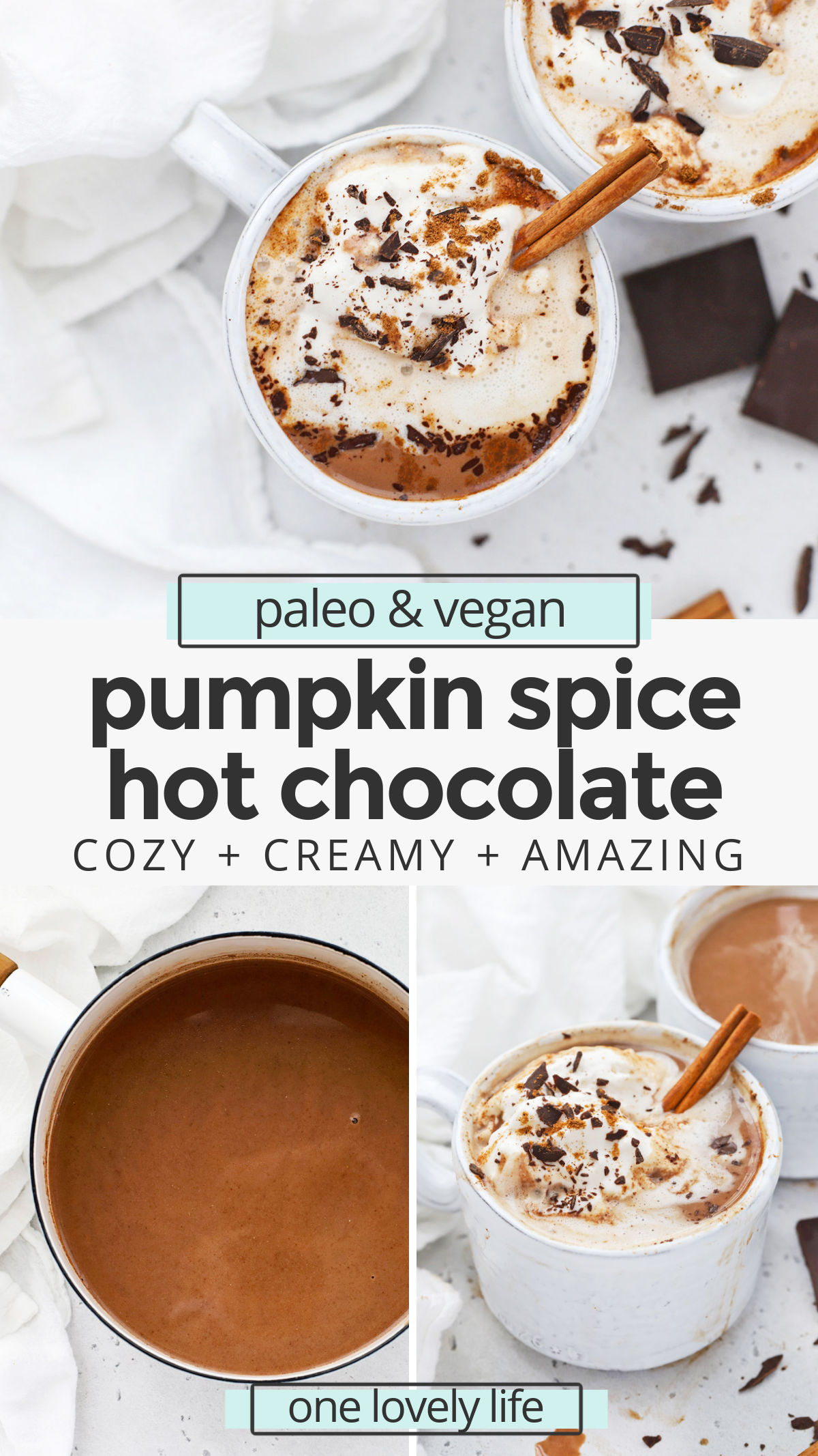 Vegan Pumpkin Spice Hot Chocolate - This dairy-free pumpkin spice hot chocolate is the perfect drink to cozy up with during cold weather. You'll love the rich, chocolatey flavor and warm kiss of spice. (Paleo-Friendly) // Pumpkin Spice Hot Cocoa Recipe // Vegan Hot Chocolate Recipe // Dairy Free Hot Chocolate Recipe // Pumpkin Hot Chocolate // Cinnamon Hot Chocolate #hotchocolate #hotcocoa #pumpkinspice #healthypumpkin #vegetarian #vegan #dairyfree #paleo