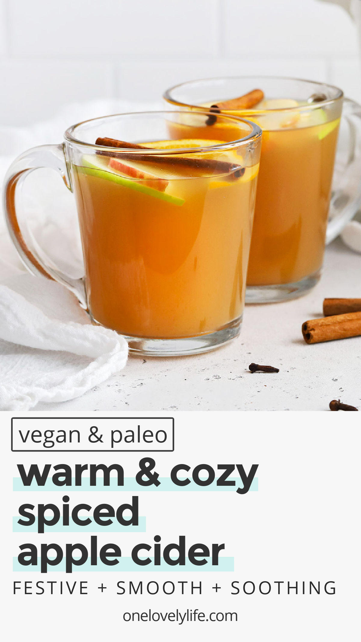 Cozy Spiced Cider - This easy spiced apple cider recipe smells and tastes incredible. The perfect blend of flavors and spices! (Naturally paleo & Vegan) // Spiced Cider Recipe // Naturally sweetened spiced cider // healthy fall drink // warm drinks // holiday drinks // non-alcoholic drinks // Christmas cider drink // hot drinks #cider #spicedcider #paleo #vegan #glutenfree #holidaydrink #warmdrink