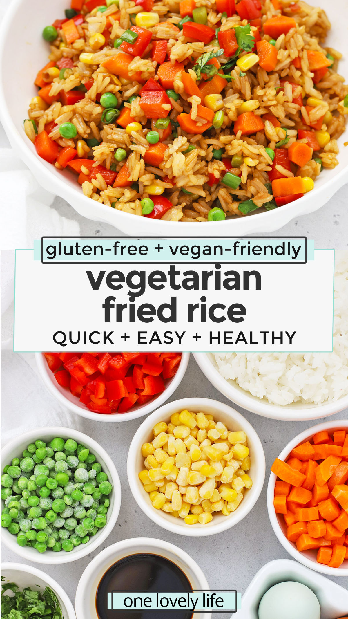 Vegetarian Fried Rice - This healthy fried rice recipe is loaded with colorful veggies and delicious flavor. Serve as a side with all your favorites! (Vegan-Friendly, Gluten-Free) // Vegan Fried Rice // Gluten Free Fried Rice // Easy Dinner // Quick Dinner // Take Out Fake Out // Takeout Copycat Fried Rice #friedrice #vegetarian #glutenfree #vegan